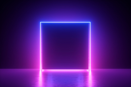 3d render, blue pink neon square frame, empty space, ultraviolet light, 80's retro style, fashion show stage, abstract background 1141495930