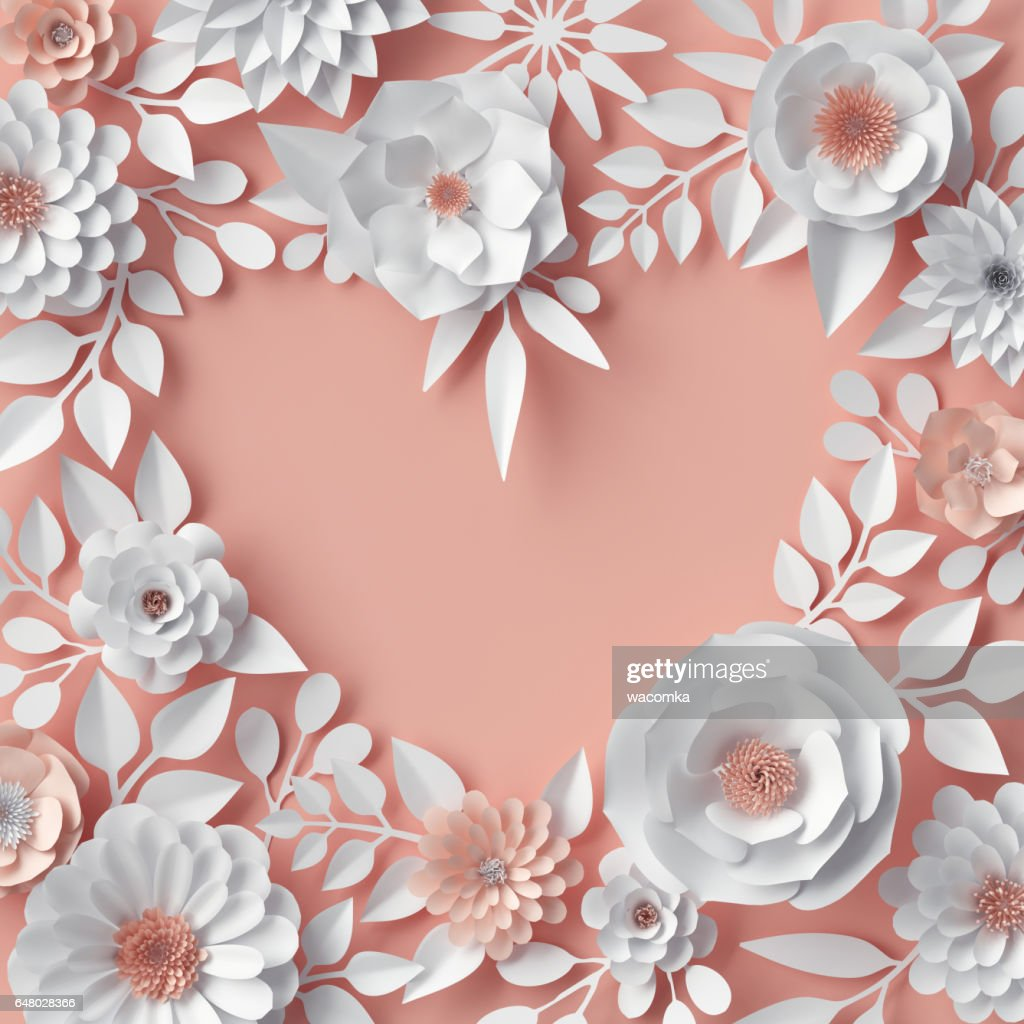 3d Render Digitale Illustration Erroten Rosa Orange Papierblumen