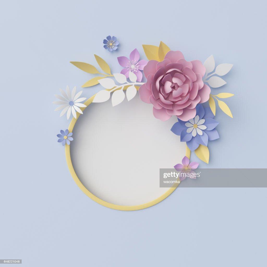 Render 3d Ilustración Digital Fondo Floral Flores De Papel ...