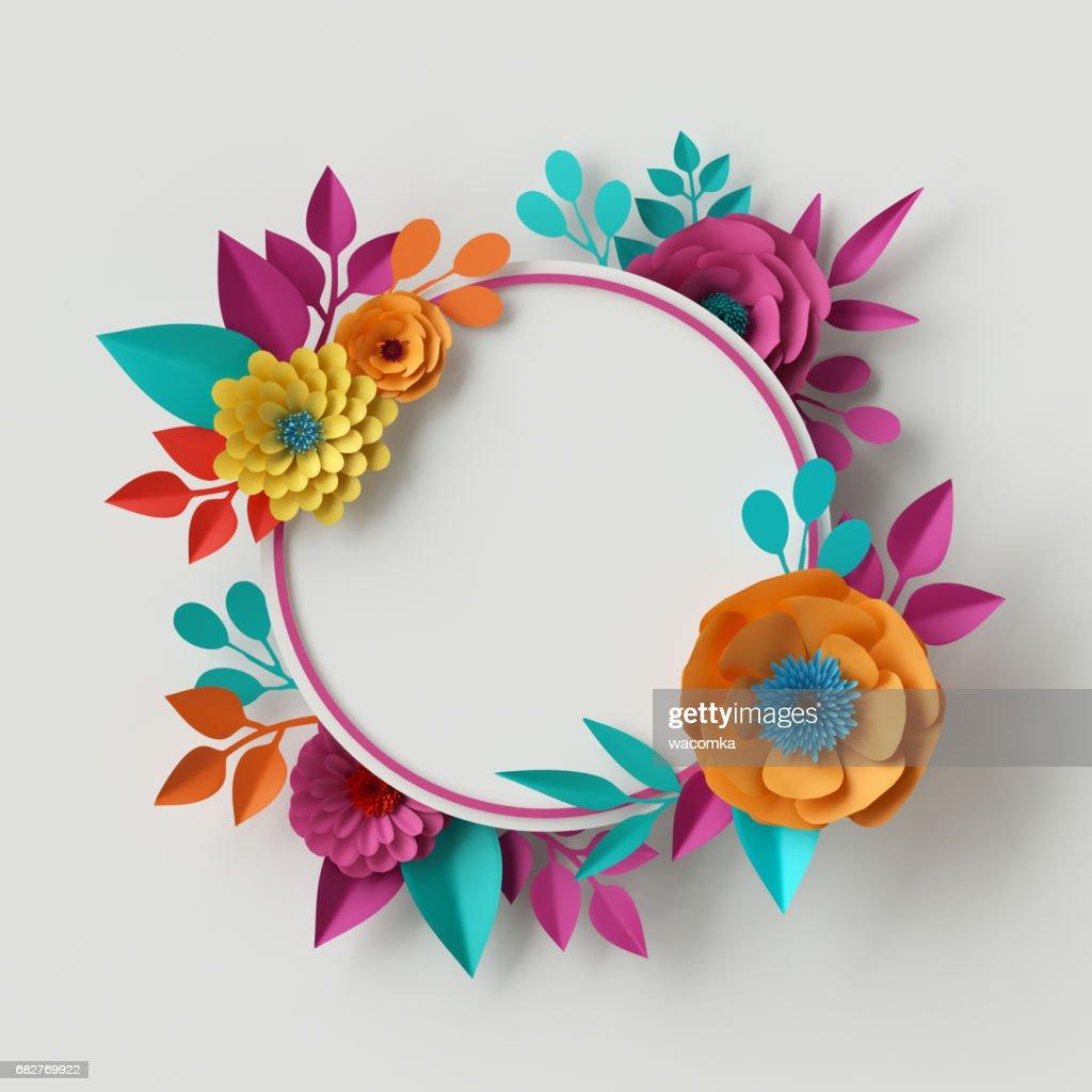 3d Render Digital Illustration Vivid Paper Flowers Round Floral