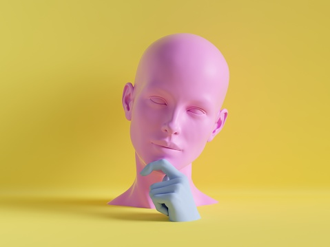3d render, female mannequin head, hand, fashion concept, isolated object, minimal yellow background, shop display, pink blue body parts, pastel colors 1047556886