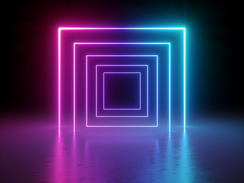 3d render, glowing lines, tunnel, neon lights, virtual reality, abstract background, square portal, arch, pink blue spectrum vibrant colors, laser show 948954320