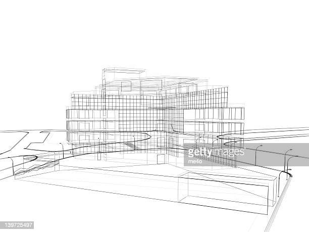3d render in wire frame layout, perspective view - model building stock photos and pictures