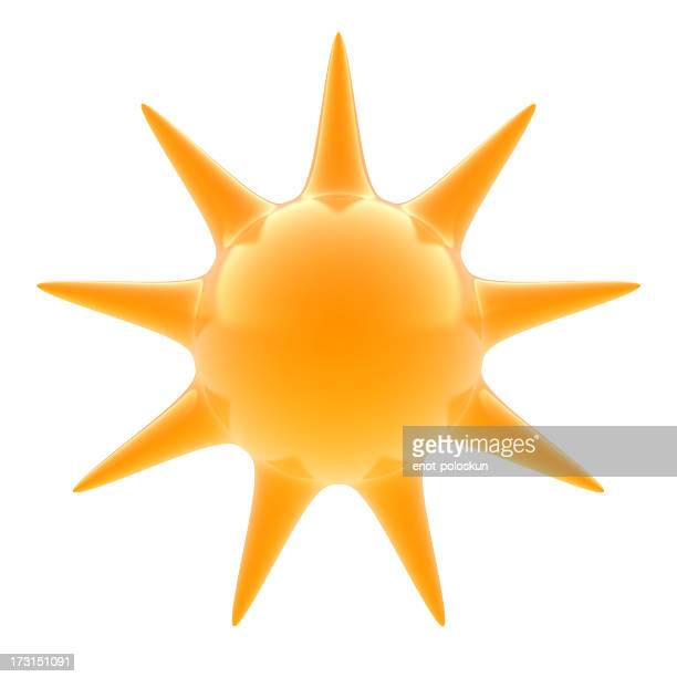 A 3d render of a glass sun on a white background