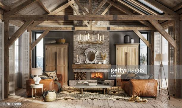 3d render of a luxurious interior of a winter cottage - chalet stock pictures, royalty-free photos & images