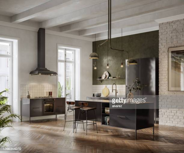 3d render of a spacious and open kitchen interior - modern stock pictures, royalty-free photos & images