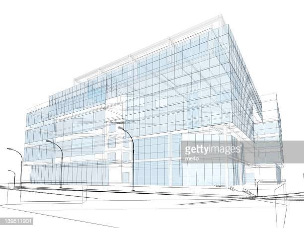 3d render of contemporary building in wire frame layout.