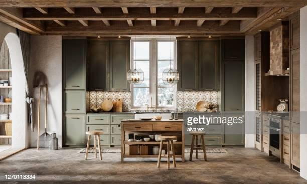 3d render von einfachen küchendesign in winterhütte - landhaus stock-fotos und bilder