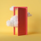 3d render, white fluffy clouds going through, flying out, open red door, objects isolated on bright yellow background. Abstract metaphor, modern minimal concept. Surreal dream scene