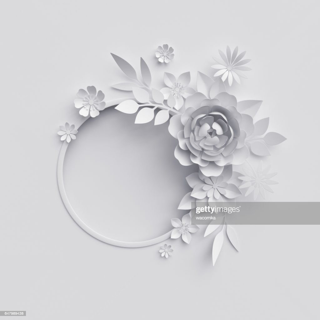 3d Render White Paper Flowers Floral Background Stock Photo Getty