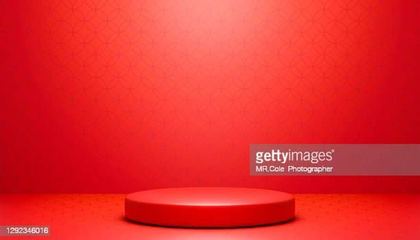 3d rendered ed stage podium on chinese textured background, platforms for product presentation, red colors backgrounds, mock up design for advertising - winners podium stock pictures, royalty-free photos & images