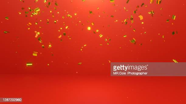 3d rendered gold colored confetti and red background, platforms for product presentation and advertising - confetti stock pictures, royalty-free photos & images
