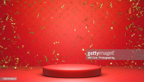 3d rendered gold colored confetti and red stage podium on chinese textured background. platforms for product presentation, red colors backgrounds, mock up design for advertising - winners podium stock pictures, royalty-free photos & images