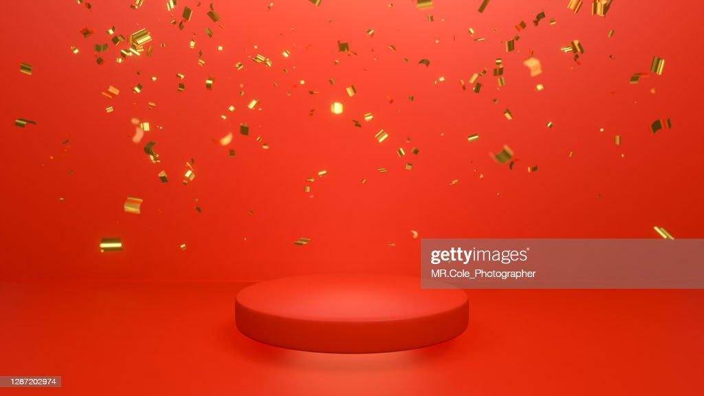 3d rendered Gold Colored Confetti and red Stage podium on the floor, mock up design for advertising : ストックフォト