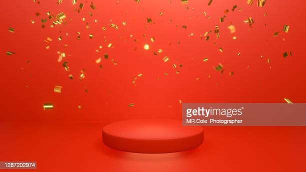 3d rendered gold colored confetti and red stage podium on the floor, mock up design for advertising - 唯一 ストックフォトと画像