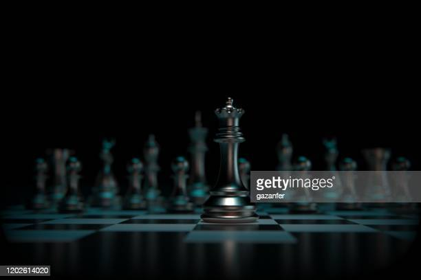 3d rendered metal chess pieces - chess stock pictures, royalty-free photos & images