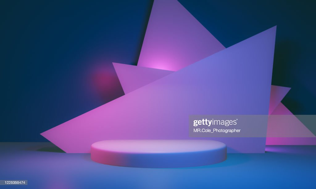3d rendered Stage podium on the floor. Platforms for product presentation, mock up background,Pink and blue colors Backgrounds,Futuristic design : Foto de stock