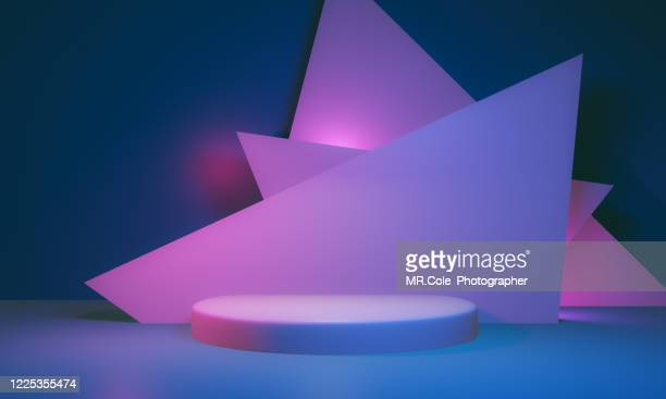 3d rendered stage podium on the floor. platforms for product presentation, mock up background,pink and blue colors backgrounds,futuristic design - niveau d'épreuve sportive photos et images de collection