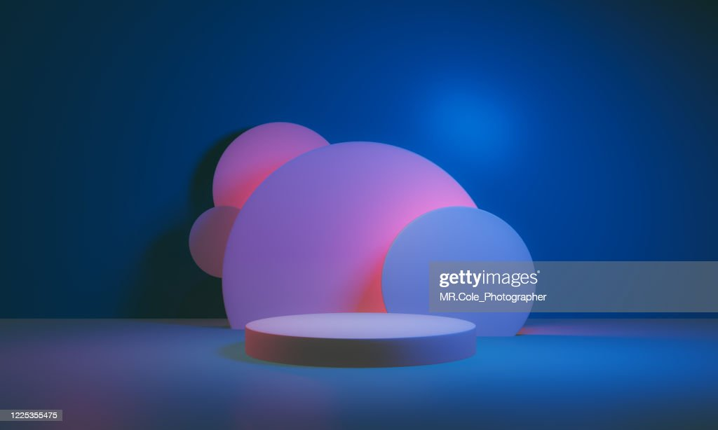 3d rendered Stage podium on the floor. Platforms for product presentation, mock up background,Pink and blue colors Backgrounds,Futuristic design : Stock Photo