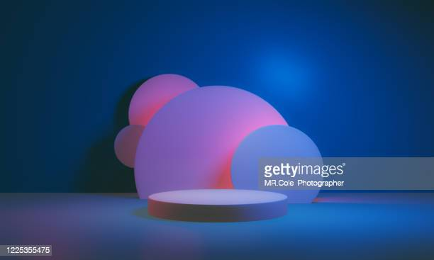 3d rendered stage podium on the floor. platforms for product presentation, mock up background,pink and blue colors backgrounds,futuristic design - ceremonia de entrega de premios fotografías e imágenes de stock