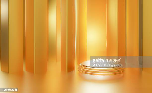 3d rendered stage podium on the floor. platforms for product presentation, mock up background,gold color backgrounds - gold shoe stock pictures, royalty-free photos & images