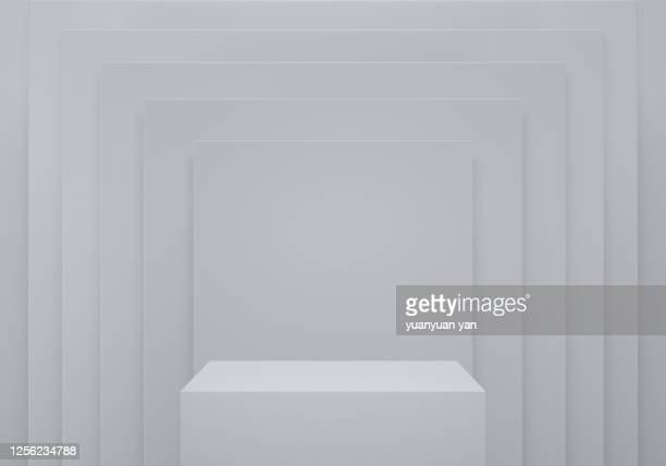 3d rendering exhibition background - carré forme bidimensionnelle photos et images de collection