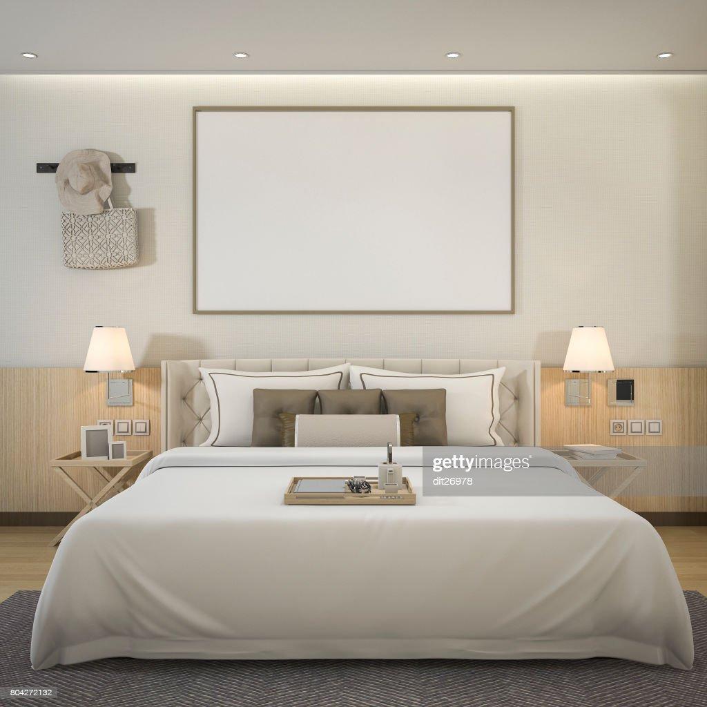 3d rendering luxe moderne slaapkamer suite in hotel met mock up frame stockfoto