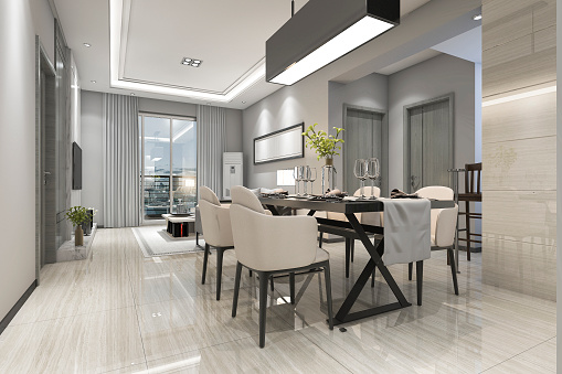 3d rendering modern dining room and living room with luxury decor 943417936