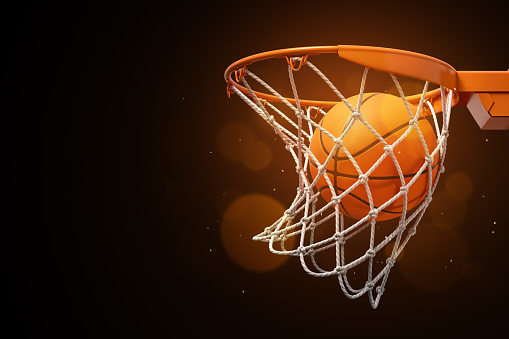 3d rendering of a basketball in the net on a dark background. 1178074437