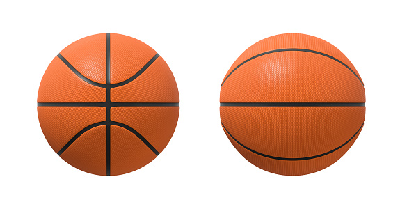 3d rendering of basketballs shown in different view angles on a white background. 1051277876