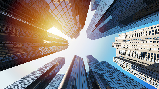 3d rendering of corporate buildings with sunlight 1135793300