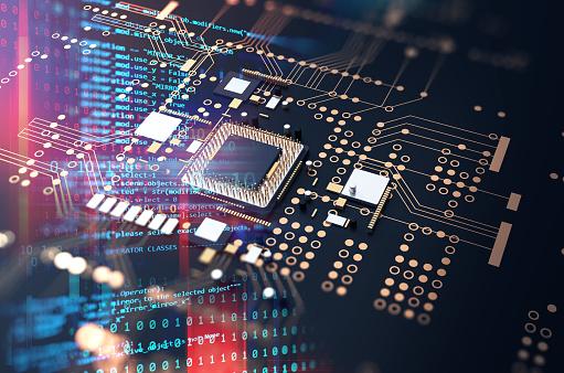 3d rendering  of futuristic blue circuit board 1093817018