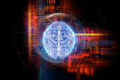 3d rendering human brain technology background