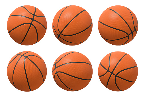 3d rendering of six basketballs shown in different view angles on a white background. 1048873502