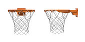 3d rendering of two basketball nets with orange hoops in front and side views.