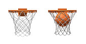 3d rendering of two basketball nets with orange hoops, one empty and one with a ball falling inside.