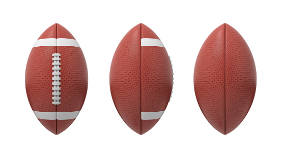 3d rendering set of oval American football ball isolated on a white background 1022920658