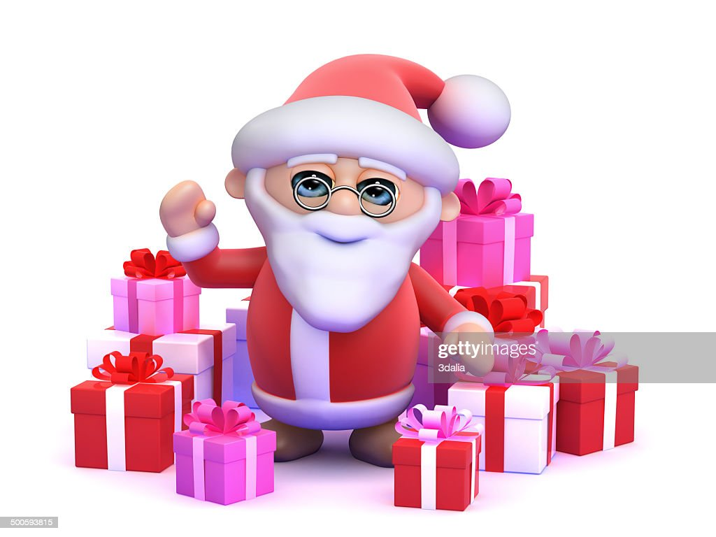 3d Santa Surrounded By Christmas Gifts Stock Photo   Getty Images