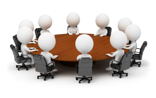 3d small people - session behind a round table 106448888