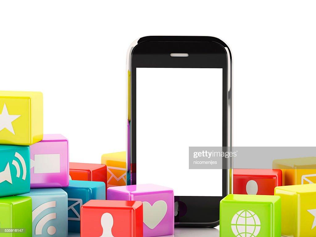 3 d Smartphone con nube de iconos de aplicaciones : Foto de stock