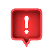 3d social media notification neon light Exclamation mark icon in red rounded square pin isolated over white background