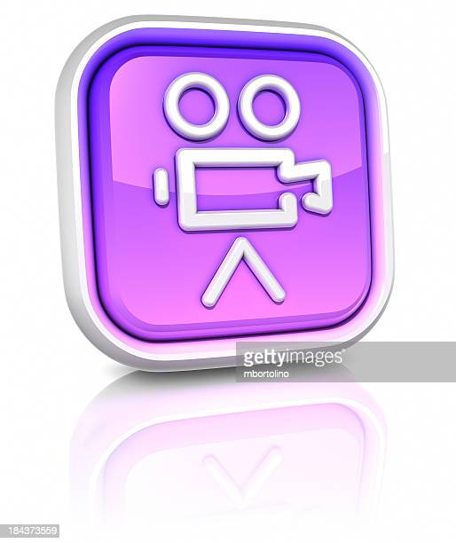 3d square icons - movie - camera icon stock pictures, royalty-free photos & images