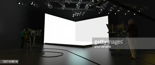 3d studio live template, web events, live transmission, web studio - live broadcast stock pictures, royalty-free photos & images
