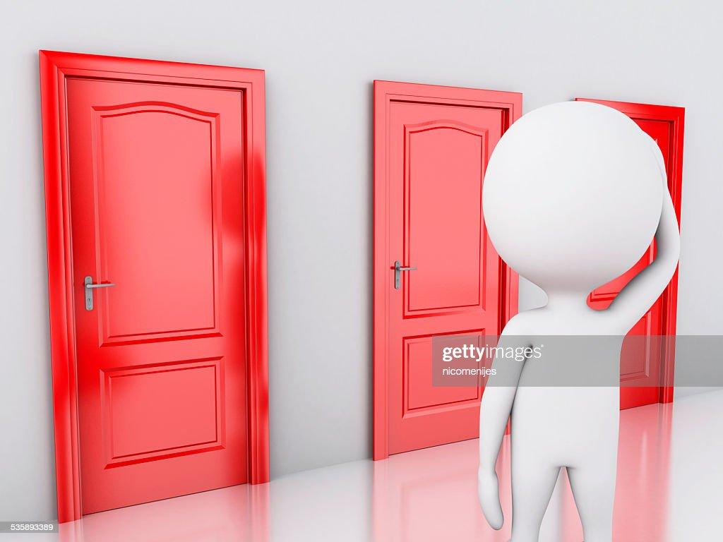3d white people and three doors, doubtful. Choice concept : Stockfoto