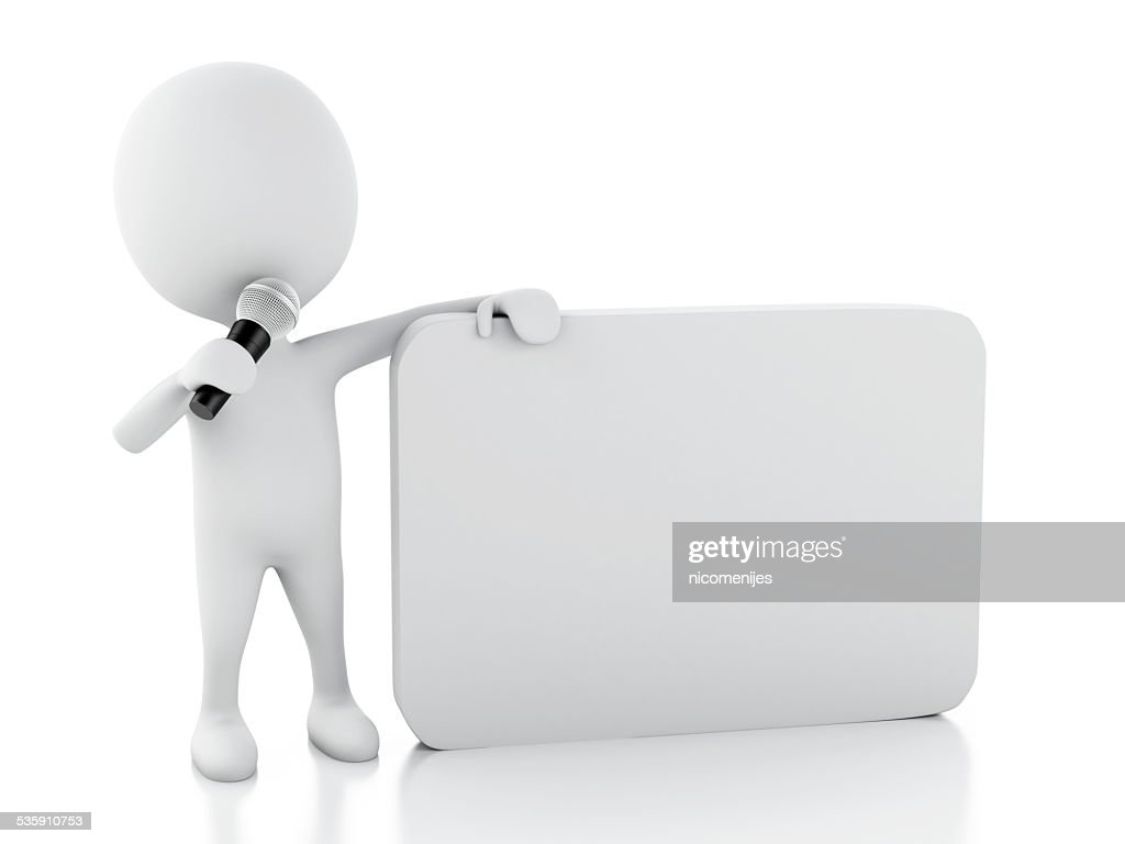 3d white people with a blank speech bubble. Communication concep : Stock Photo