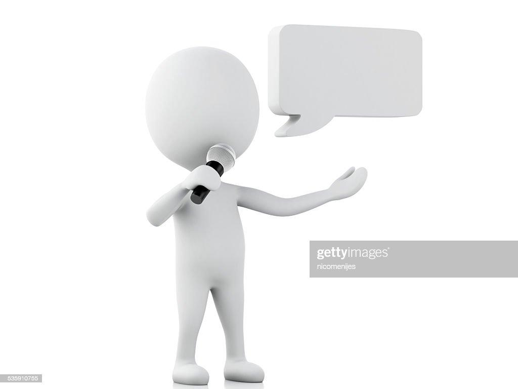 3 d weiß Personen mit eine leere Sprechblase. Kommunikation concep : Stock-Foto