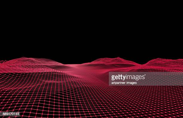 3d-grid formed like a landscape - grid pattern stock pictures, royalty-free photos & images