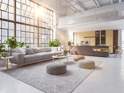 3D-Illustration of a new modern city loft apartment. 1127580796
