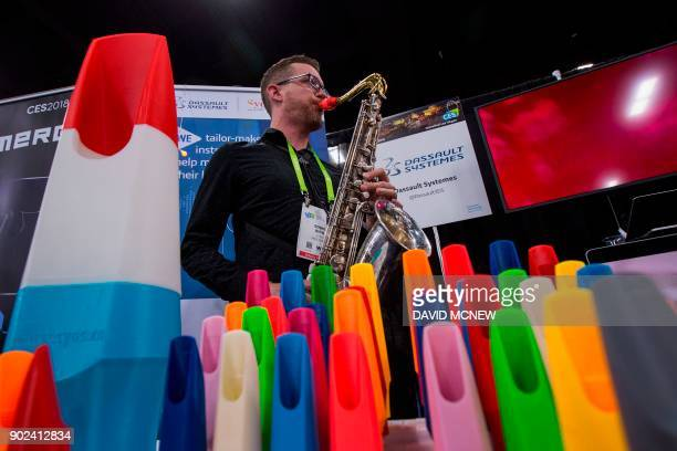 SYOS 3Dprinted custom saxophone mouthpieces are displayed at CES Unveiled Las Vegas a press preview event before the start of CES in Las VegasNevada...