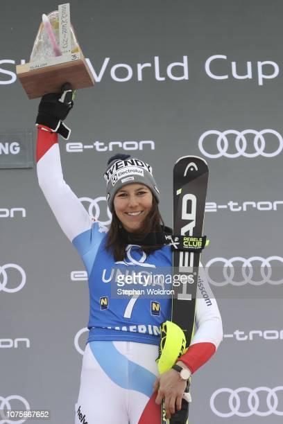 3nd place Wendy Holdener of Switzerland of flower ceremony AUDI FIS Ski World Cup Women's Slalom on December 29 2018 in Semmering Austria